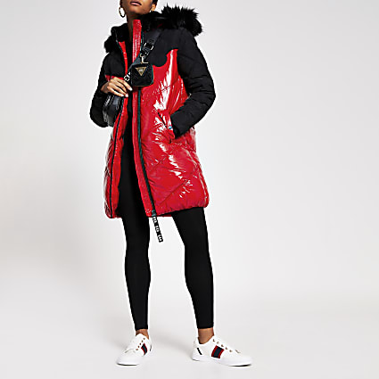 Red padded faux fur quilted coat