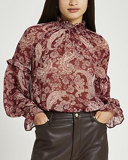 Red paisley print ruffled blouse