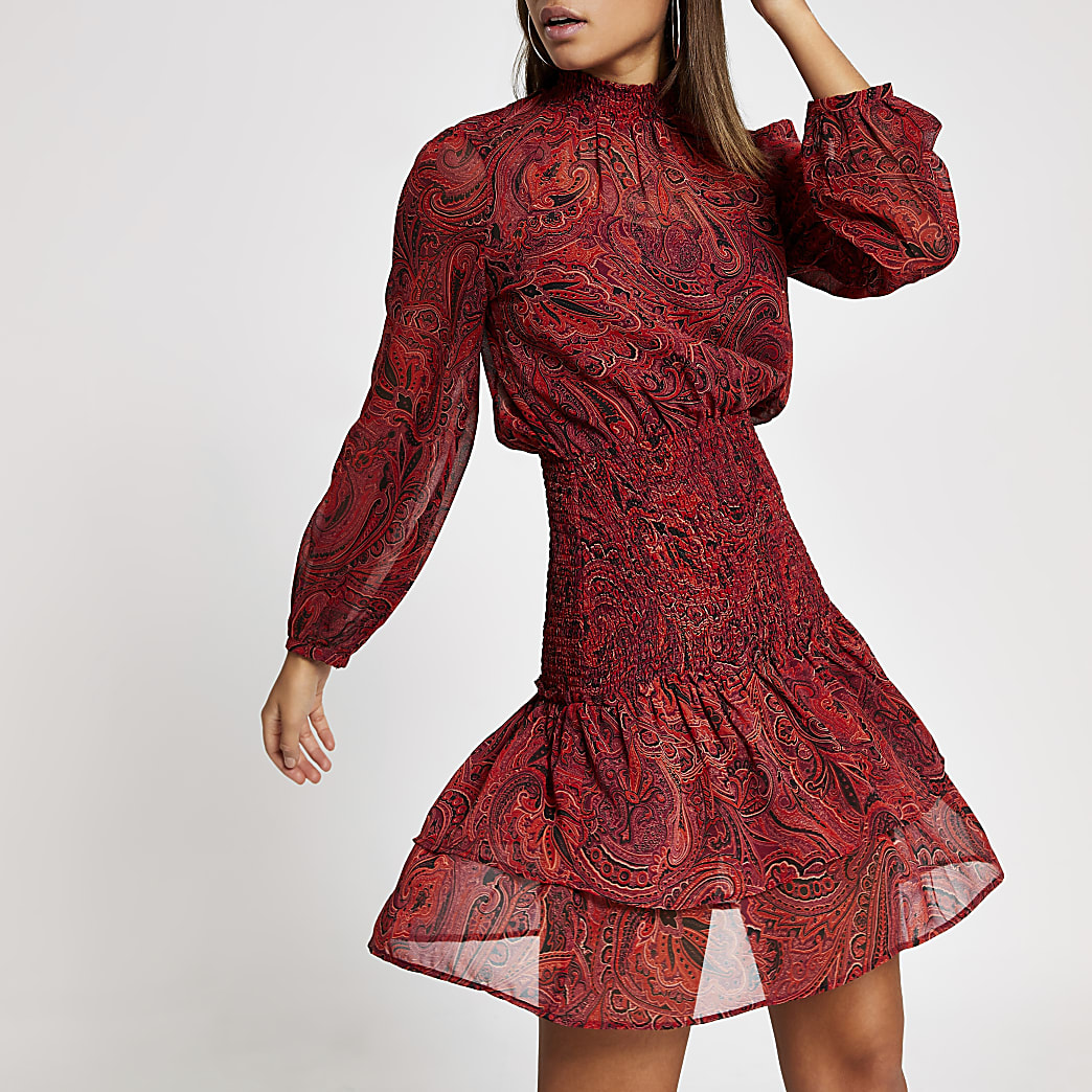 Red paisley shirred waist mini dress