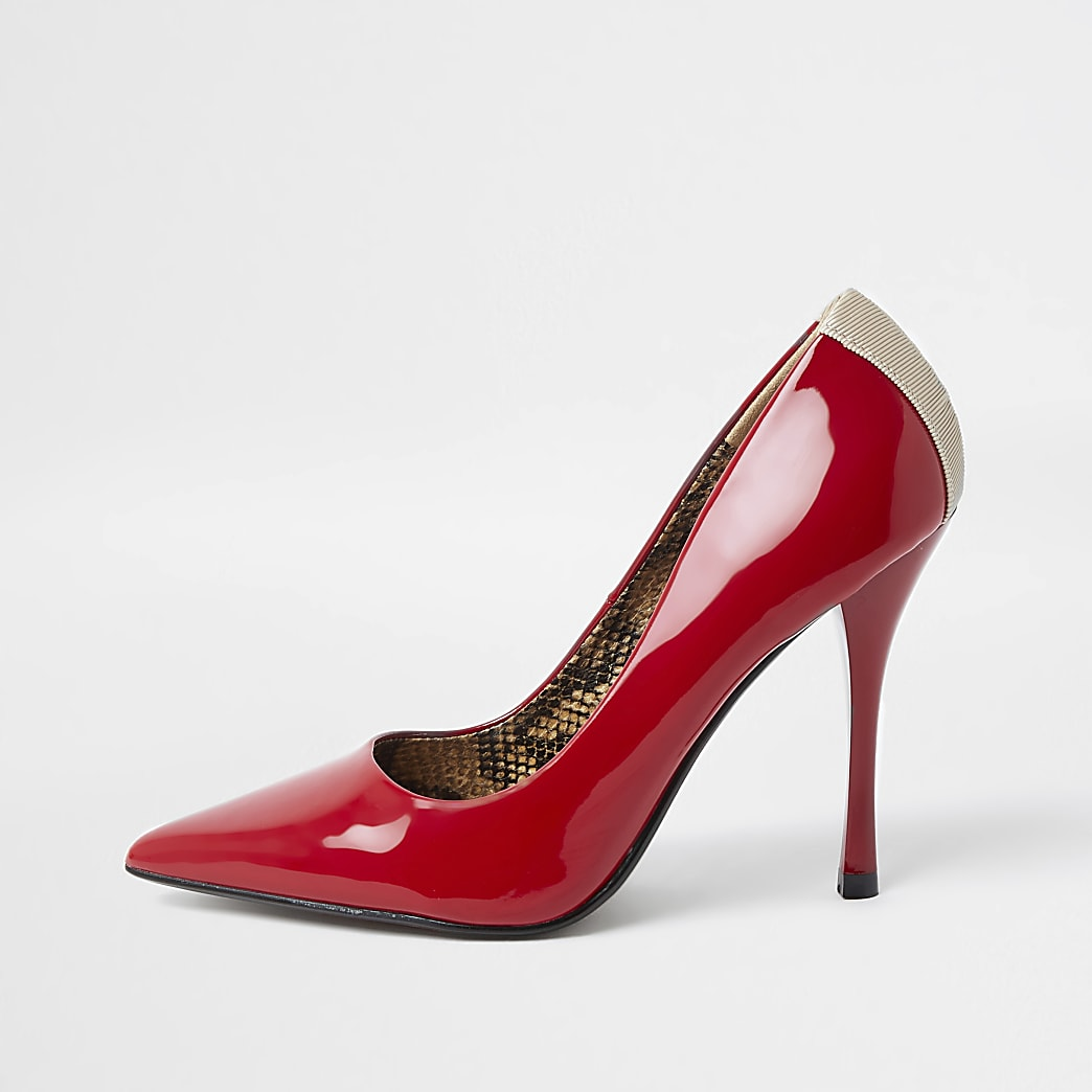 Red patent court heel shoe