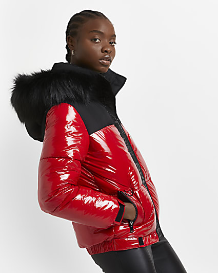 Red patent quilted puffer coat
