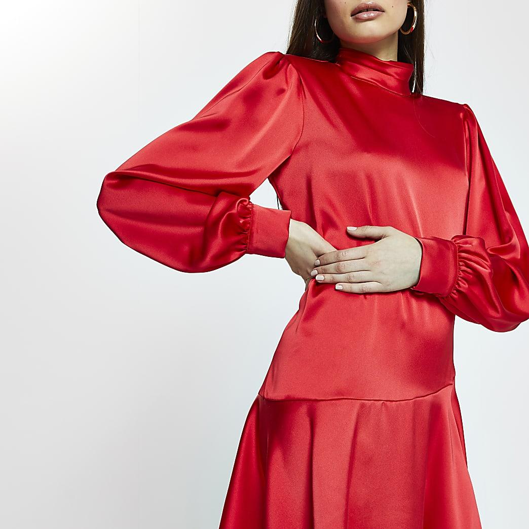 Red peplum hem shift mini dress