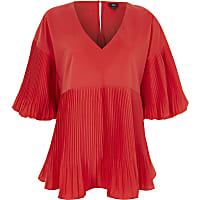 Red pleated V neck puff sleeve top