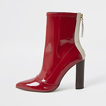 Red point toe stitch detail ankle boots