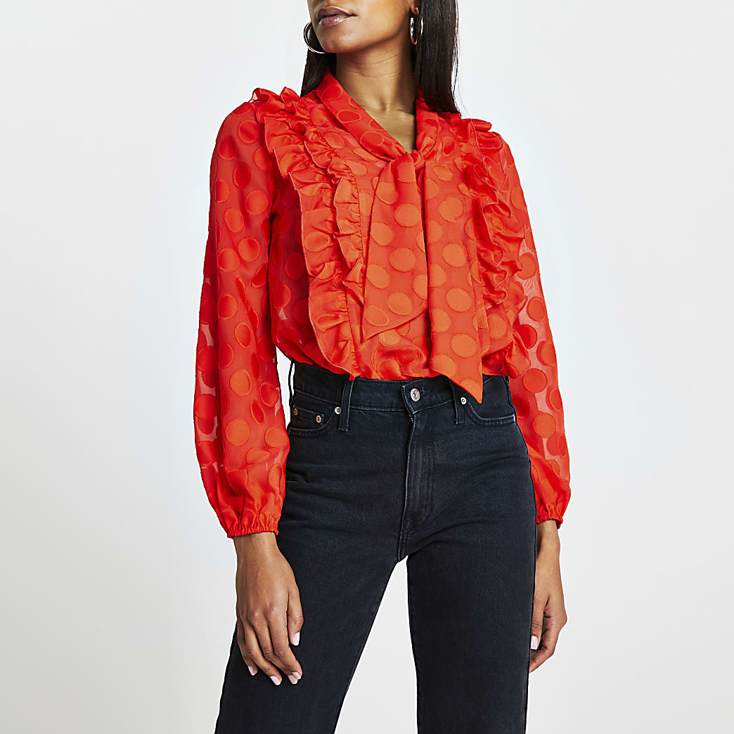 Red polka dot  textured tie front blouse top