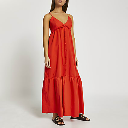 Red poplin tiered maxi dress