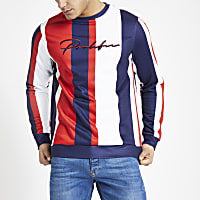 Red 'Prolific' stripe slim fit sweatshirt