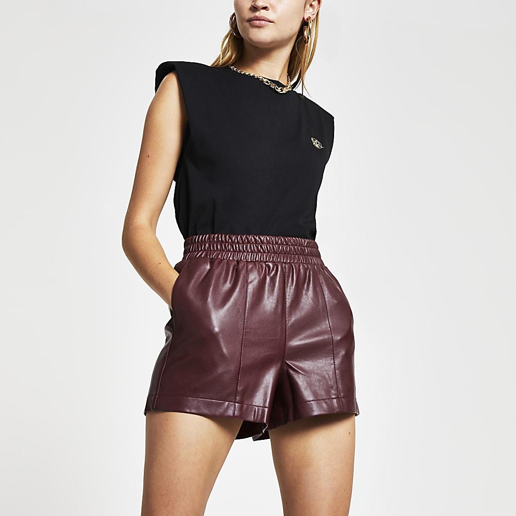 Red PU runner shorts