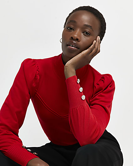 Red puff sleeve jumper