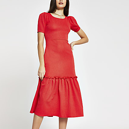 Red puff sleeve Smock Midi dress