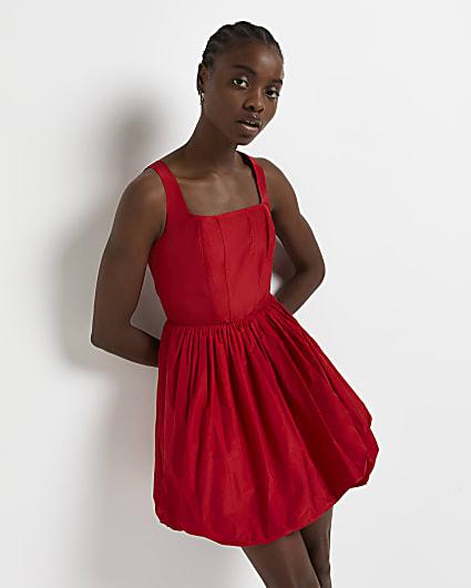 Red puffed hem mini dress
