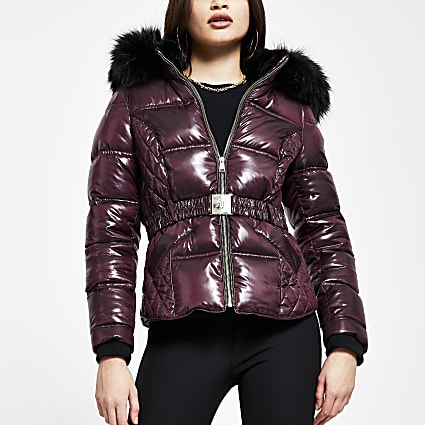 Red quilted double zip padded coat