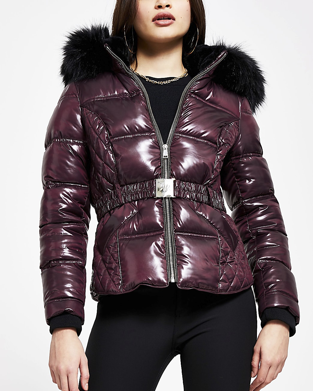 Red quilted puffer coat