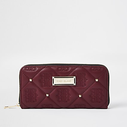 Red Quilted stud Zip Around Purse