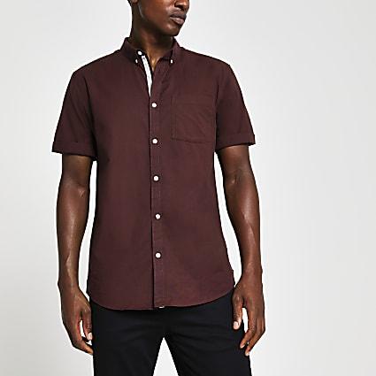 Red regular fit short sleeve shirt