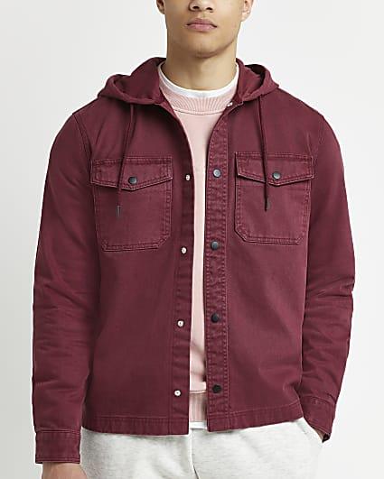 Red regular fit twill hooded shacket