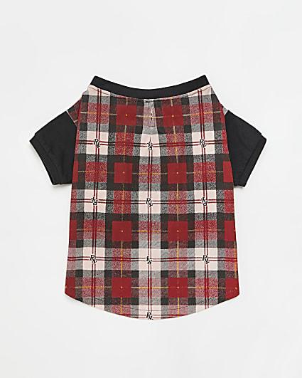 Red RI Dig check pyjama top