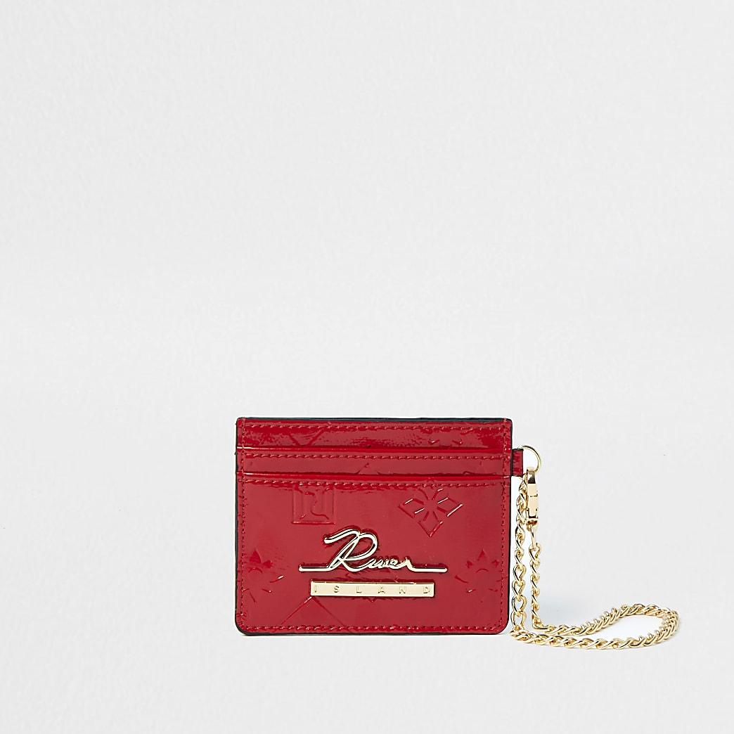 Red RI embossed cardholder