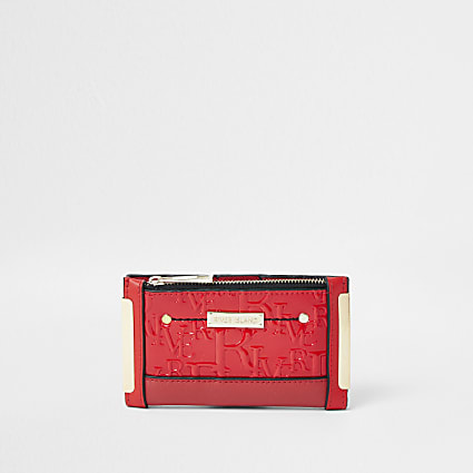 Red RI embossed mini zip top purse