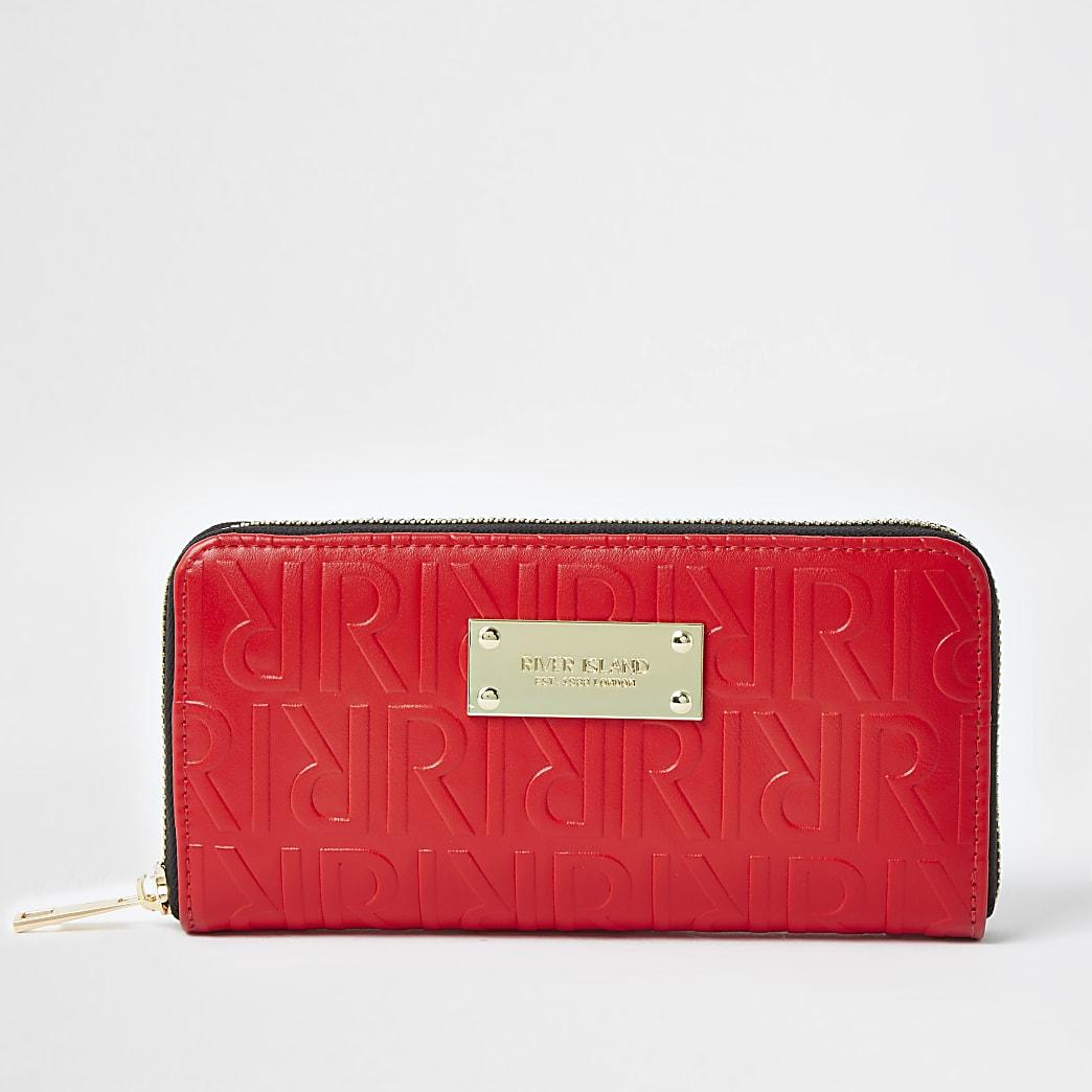 Red RI embossed monogram purse