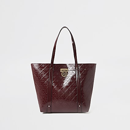 Red RI Embossed shopper tote handbag