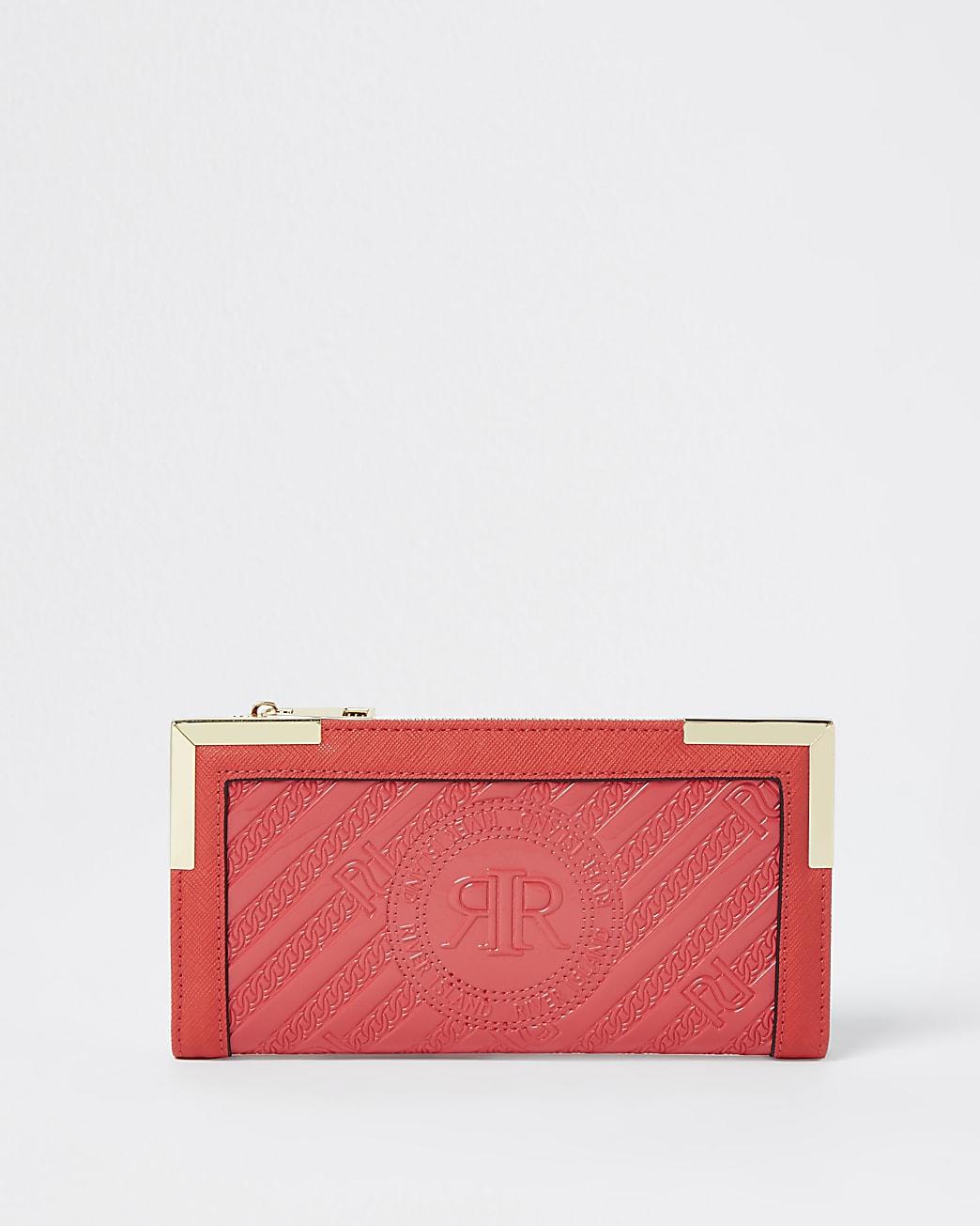Red RI embossed zip around purse