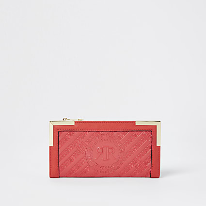 Red RI embossed zip around purse