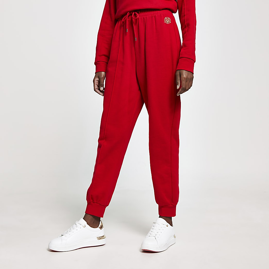 Red RI logo seam detail joggers