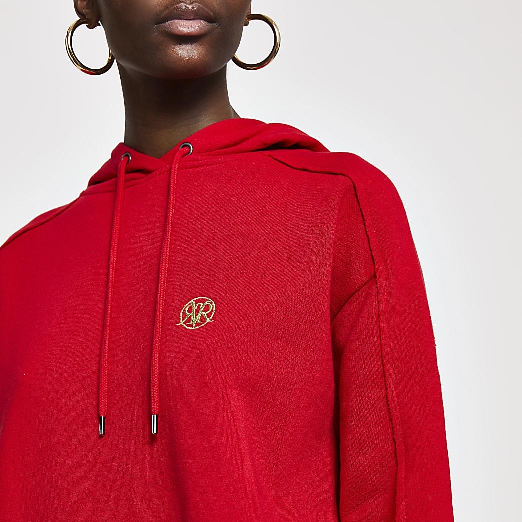 Red RI long sleeve hoodie