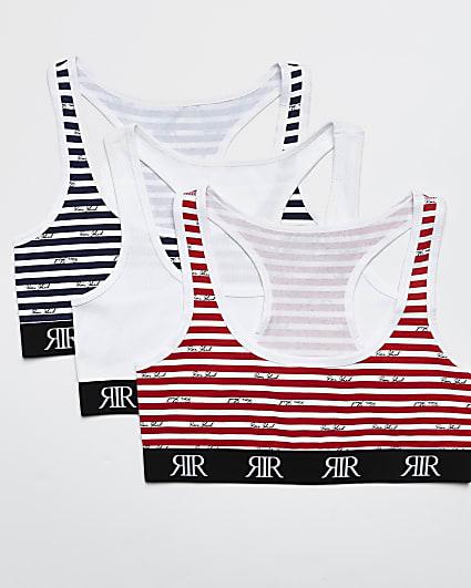 Red RI stripe cropped bralette multipack
