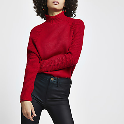 Red ribbed panel RI jumper