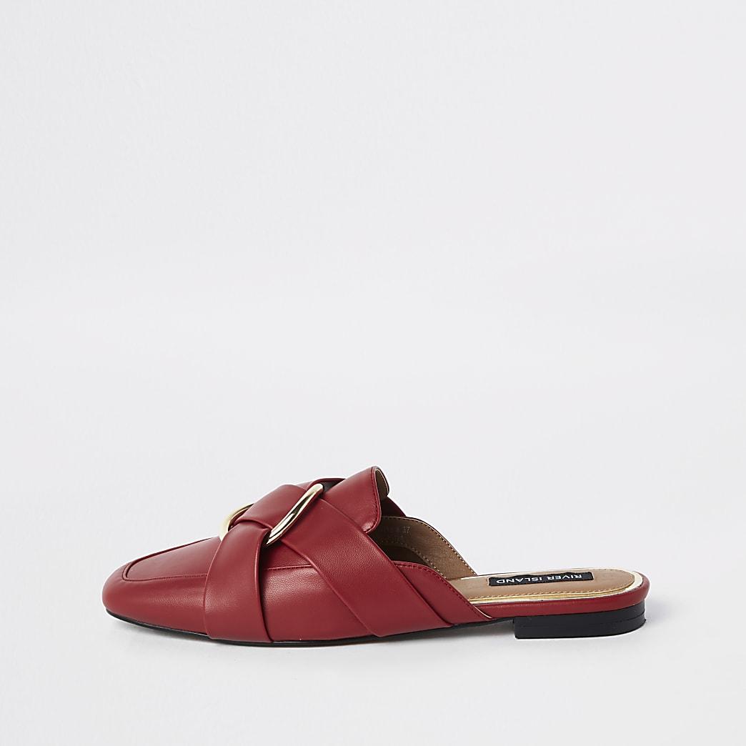Rode loafers met ring, brede pasvorm en zonder hiel