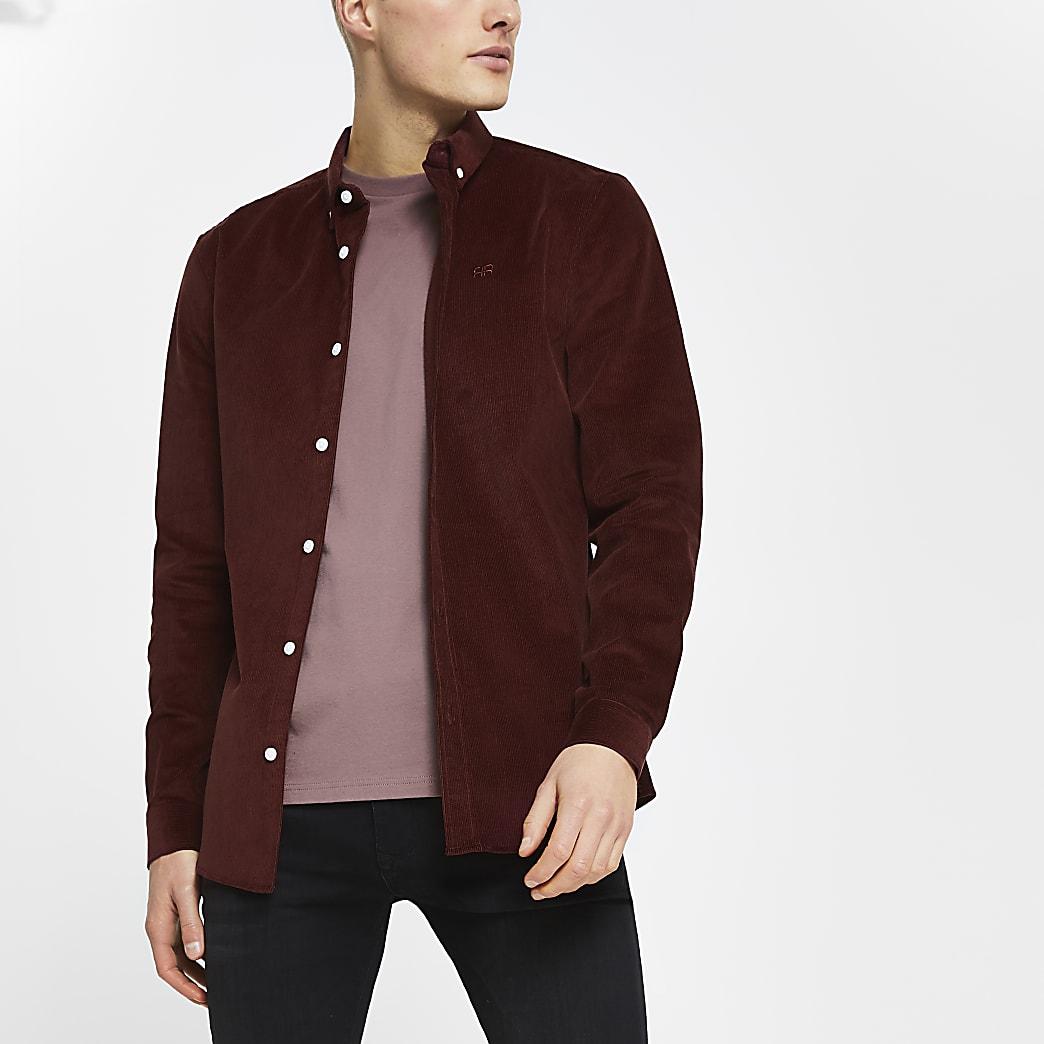 Red RR corduroy long sleeve shirt