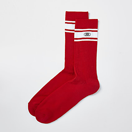 Red RR stripe socks