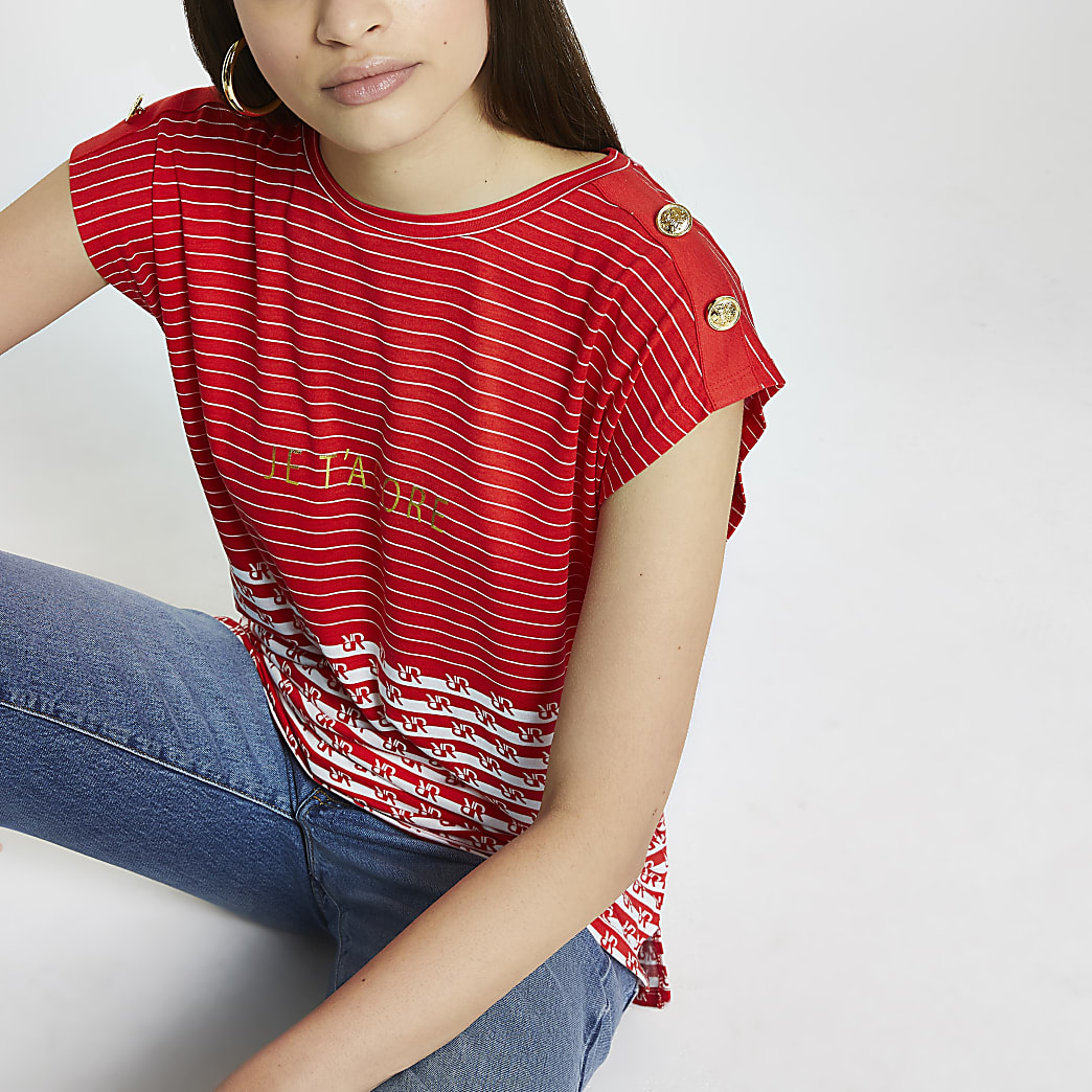 Red RR stripe t-shirt