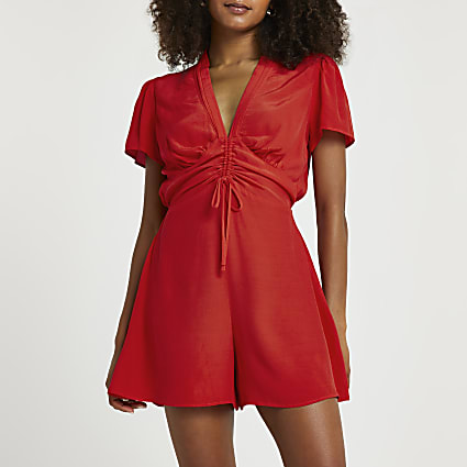Red ruched front playsuit