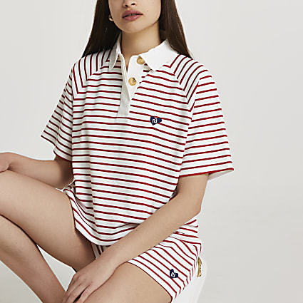 Red rugby stripe polo