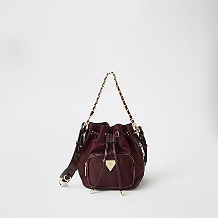 Red satin mini duffle bag