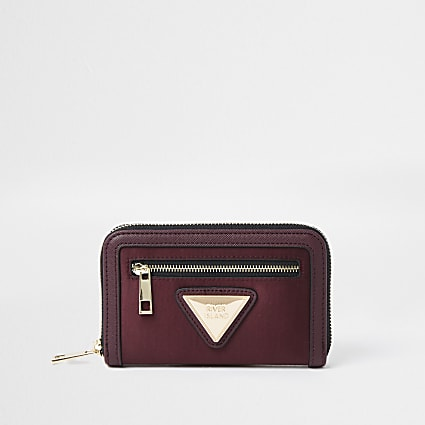 Red satin RI branded mini zip top purse