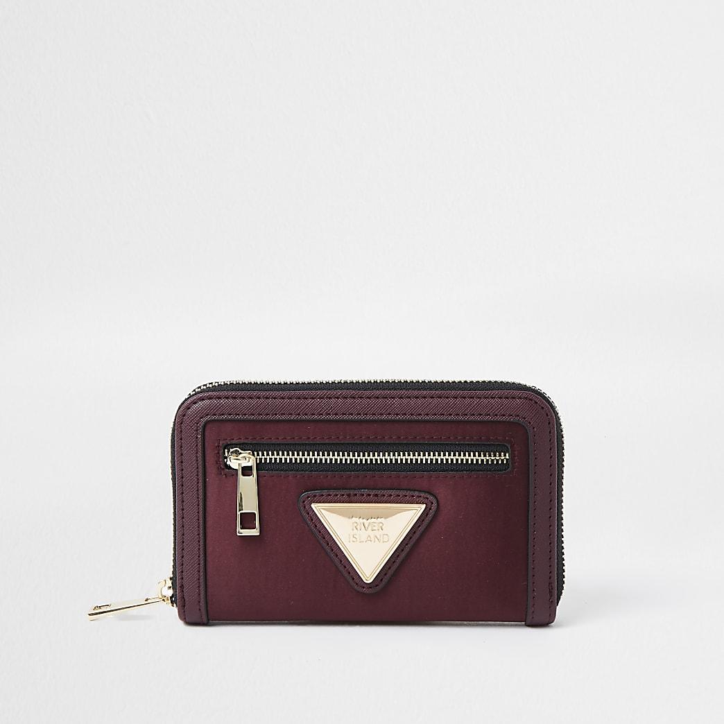 Red satin RI branded mini zip top purse