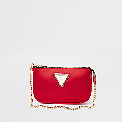Red satin underarm handbag