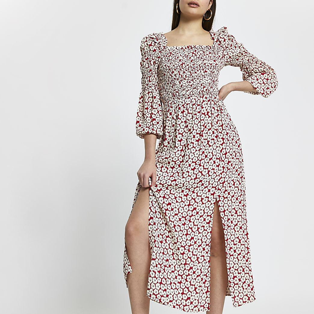 Red shirred puff sleeve maxi dress