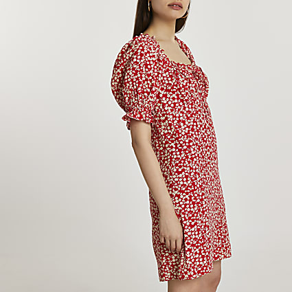 Red short puff sleeve floral mini dress