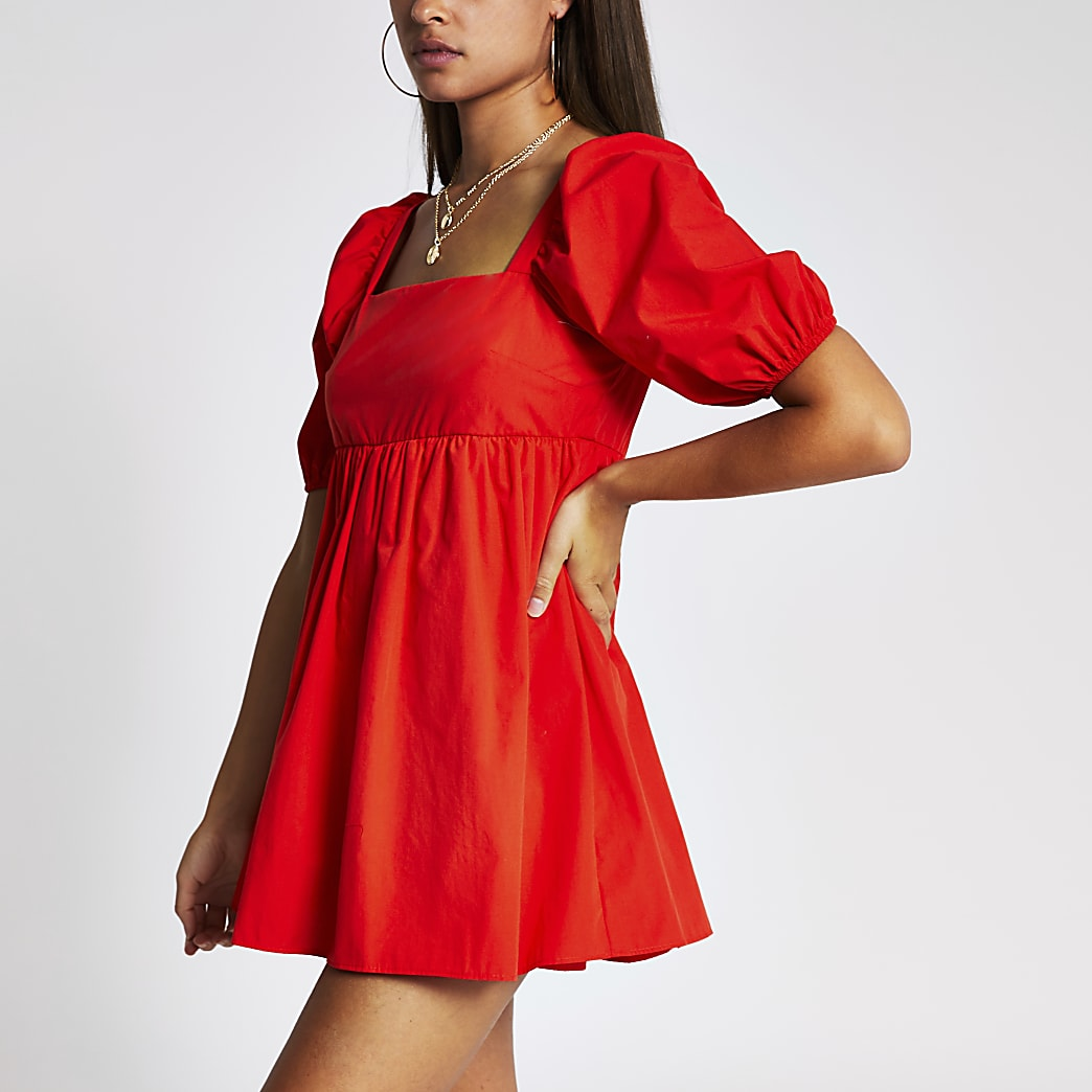 Red short puff sleeve smock playsuit