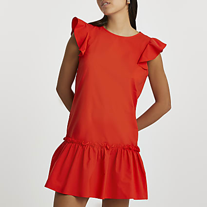 Red short sleeve frill hem smock dress