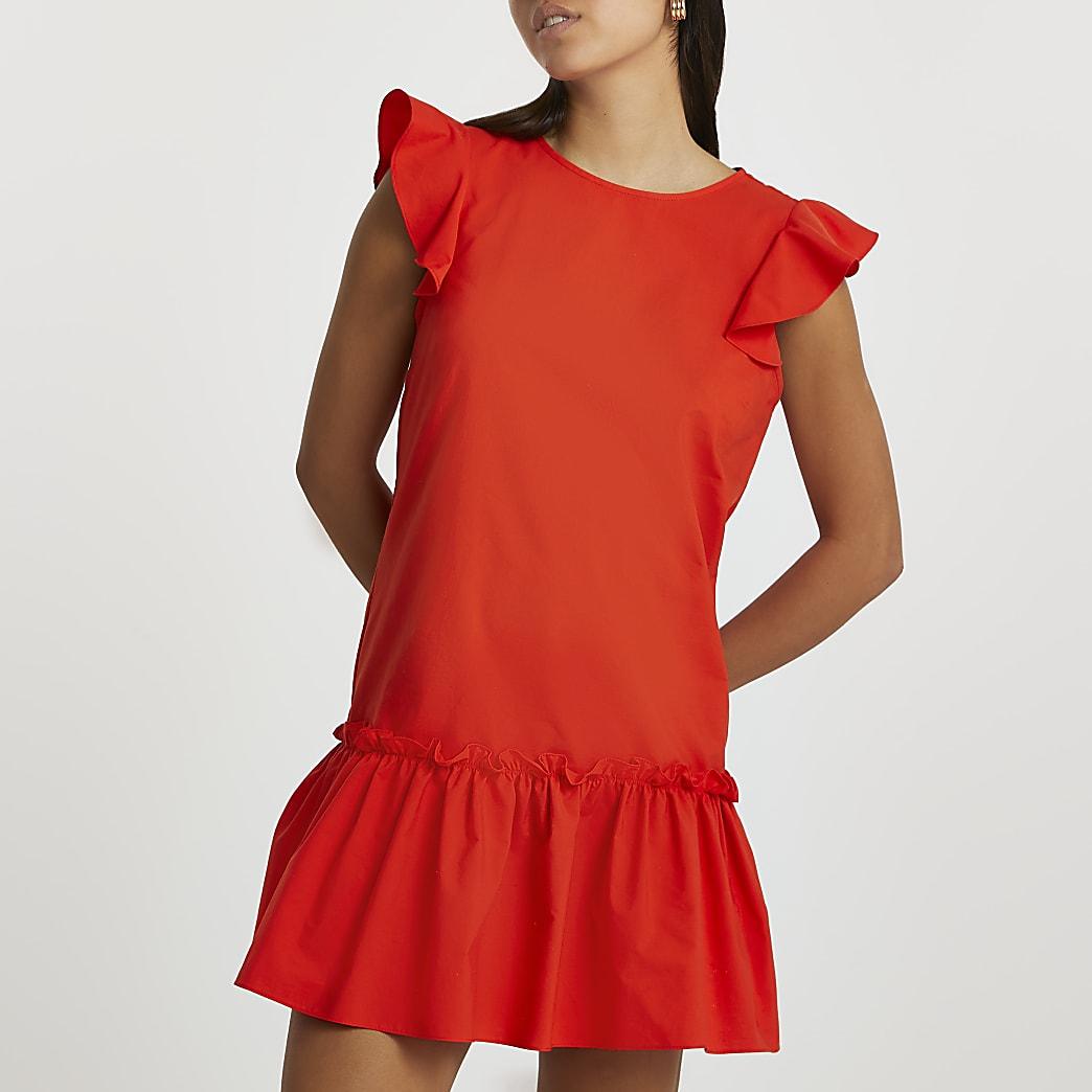 Red short sleeve frill hem smock dress