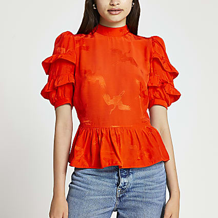 Red short sleeve open back frill top