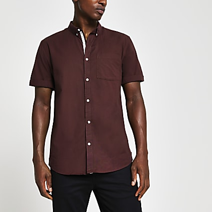 Red short sleeve regular fit shirt