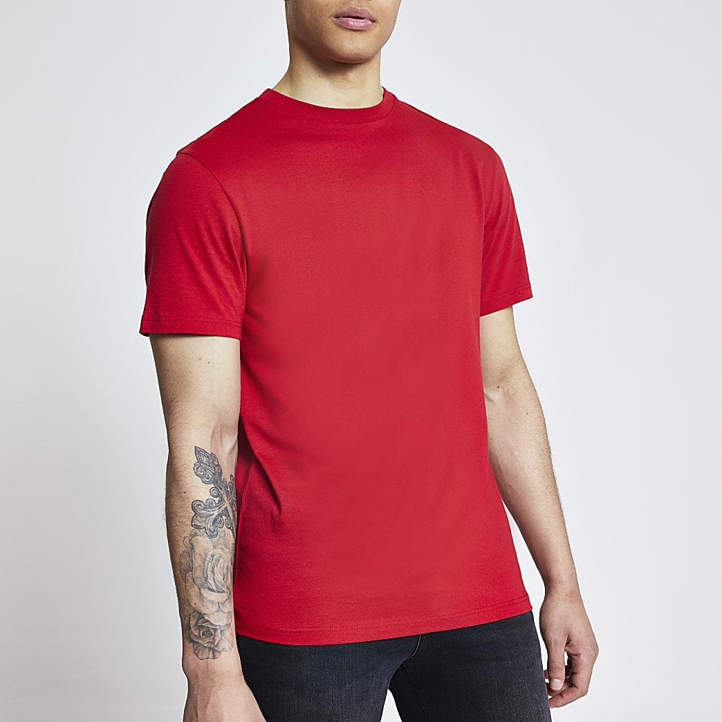 Rood regular fit T-shirt met korte mouwen