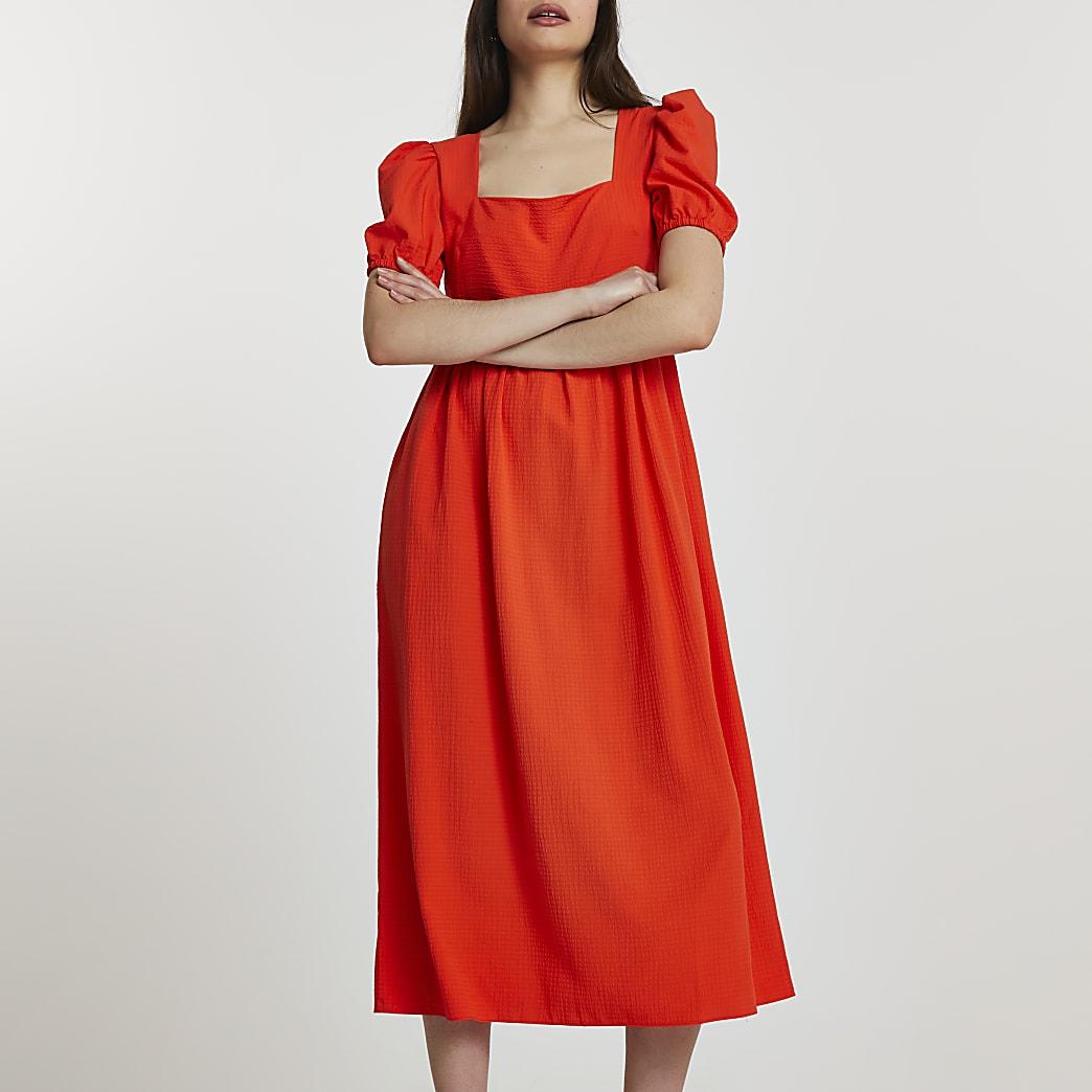 Red short sleeve square neck smock midi dress